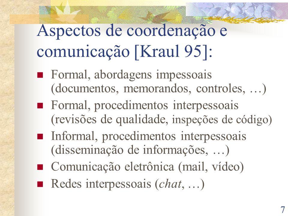Aspectos de coordenação e comunicação [Kraul 95]:
